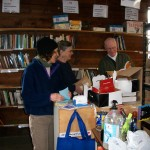 Sorting donated books.