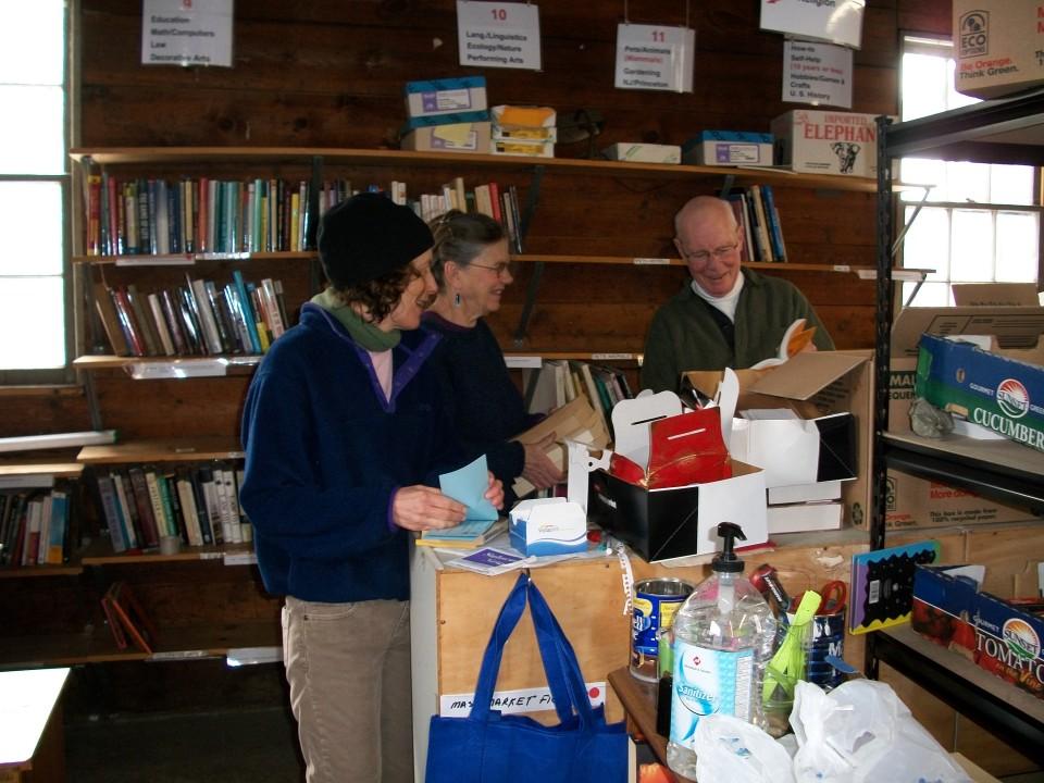Sorting donated books.
